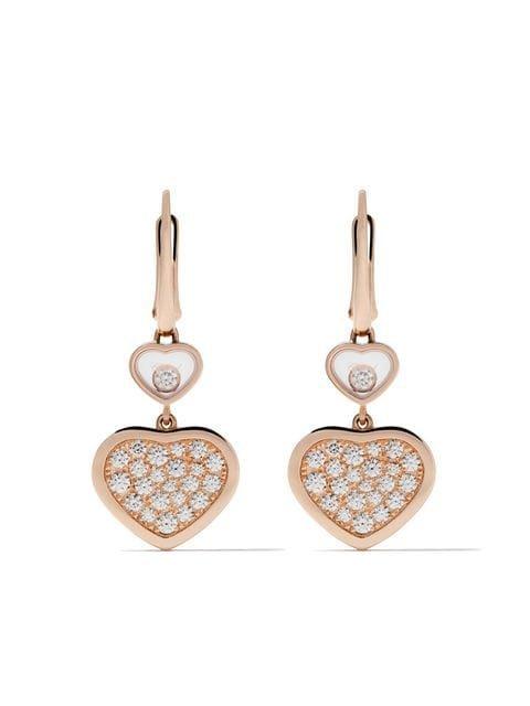 Chopard 18kt rose gold Happy Hearts diamond drop earrings £6,640 - Fast Global Shipping, Free Returns
