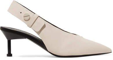 Castillo - Kinslee Textured-leather Slingback Pumps - Ivory
