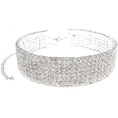 7 Row Large Silver & Diamante Crystal Statement Choker Necklace