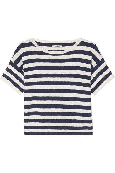 Madewell   Striped cotton-blend T-shirt   NET-A-PORTER.COM