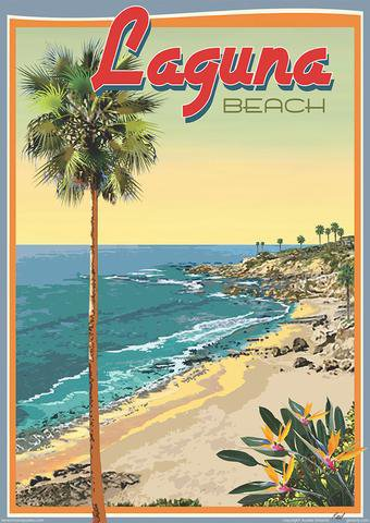 Beach Town Posters, Retro Art Deco and Vintage Posters by Aurelio Gris