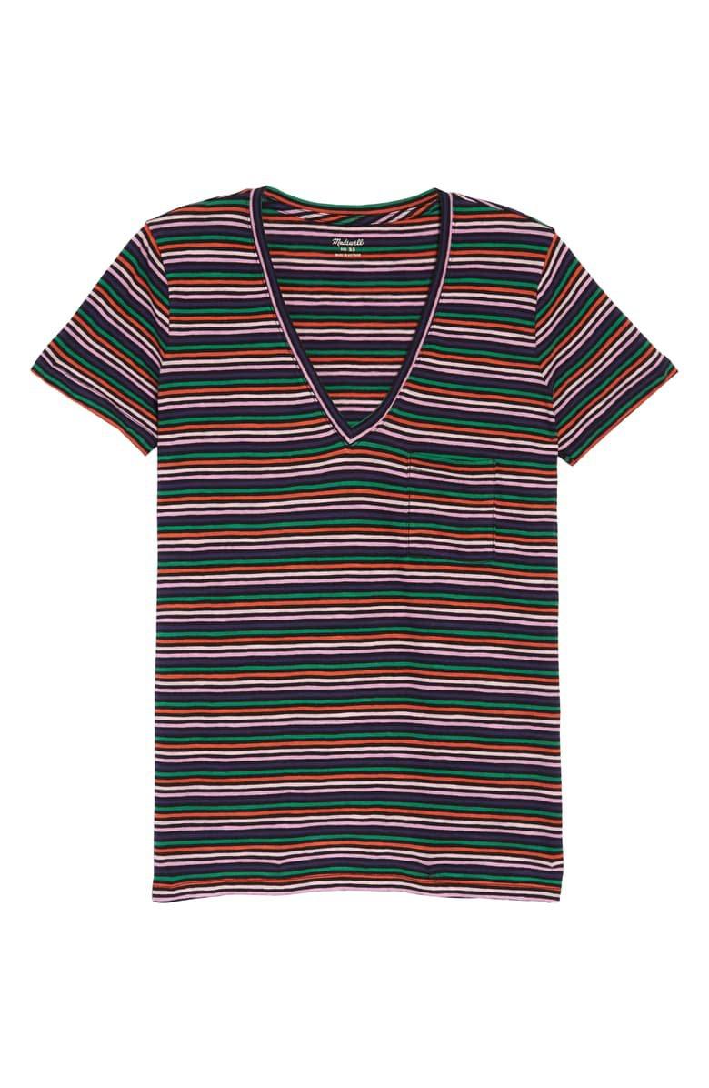 Madewell Whisper Cotton Stripe V-Neck Pocket Tee black multi