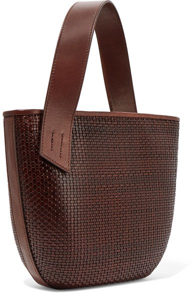 TL-180 | Panier Saigon leather-trimmed woven raffia shoulder bag | NET-A-PORTER.COM