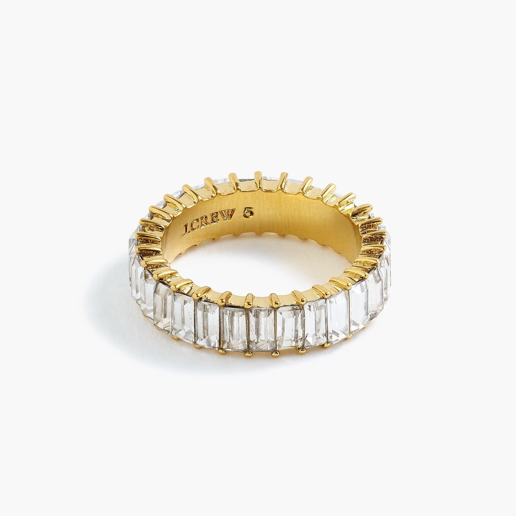 Stackable baguette crystal ring : Women rings   J.Crew
