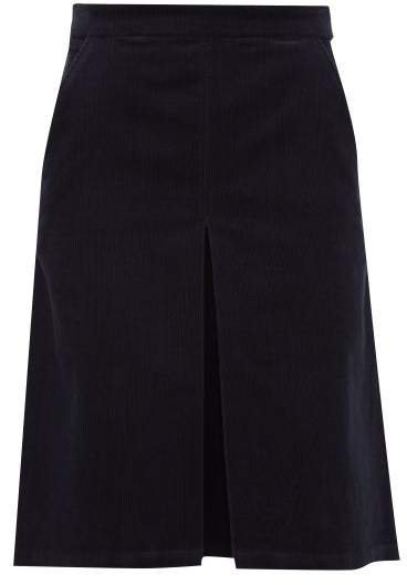 Coco Cotton Blend Corduroy Skirt - Womens - Navy