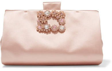 Crystal-embellished Satin Clutch - Pink