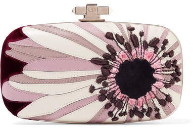 Carry Secrets Velvet And Suede-trimmed Embroidered Leather Clutch - Purple