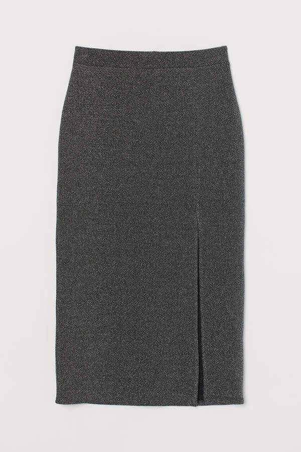 Jersey Skirt with Slit - Black