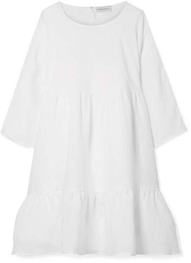 Tiered Linen Dress - White