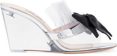 Bow-embellished Perspex And Metallic Leather Wedge Sandals - Silver