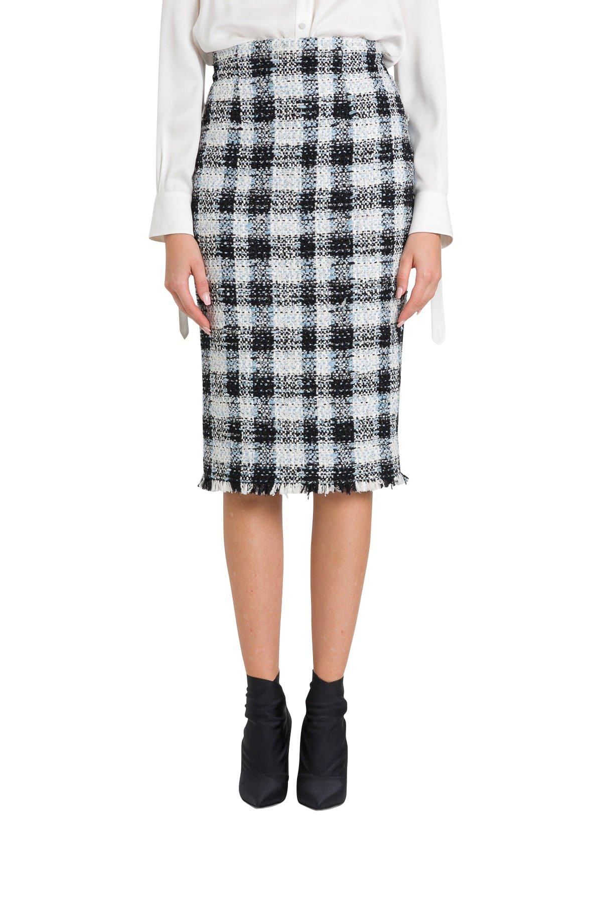 Alexander McQueen Tweed Midi Skirt With Check Motif