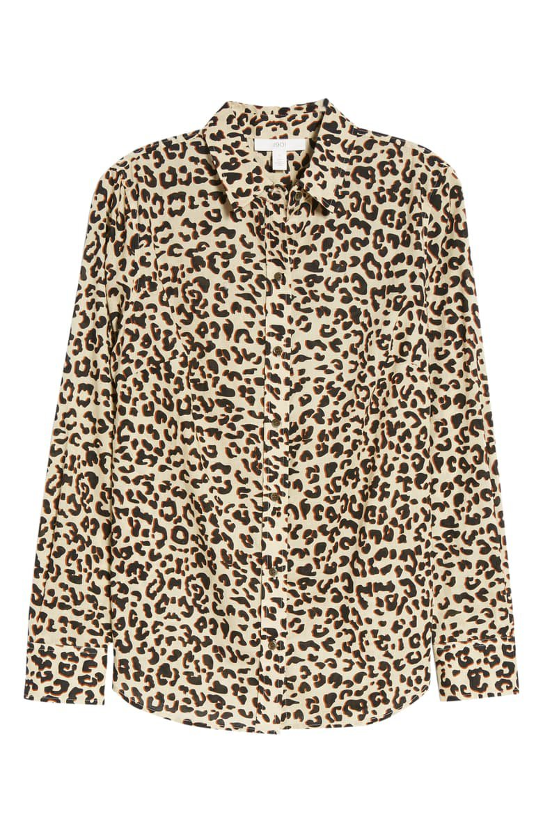 1901 Cotton Voile Blouse  Button up leopard