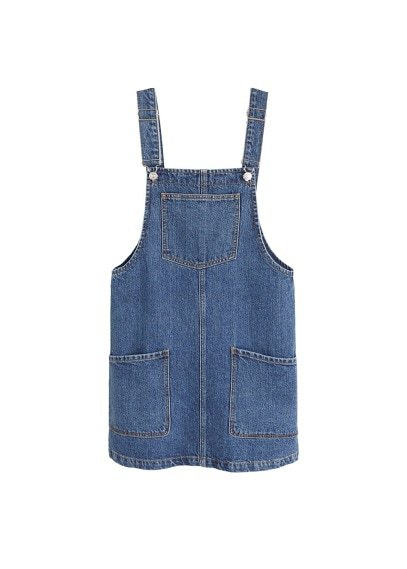 MANGO Pocket denim pinafore dress