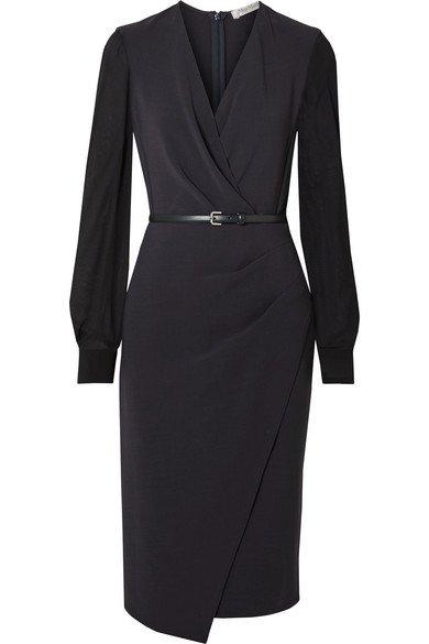 Max Mara   Manuel wrap-effect wool-blend crepe and silk-chiffon dress   NET-A-PORTER.COM