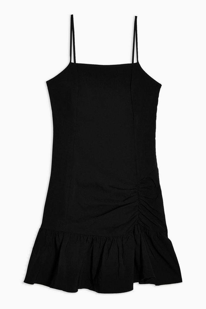 Black Bengaline Frill Mini Dress | Topshop