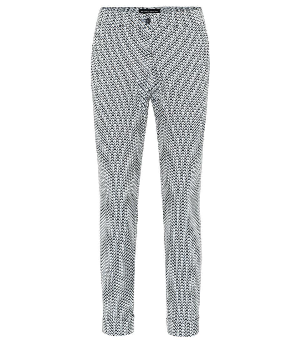 Etro - High-rise cotton-jacquard pants | Mytheresa