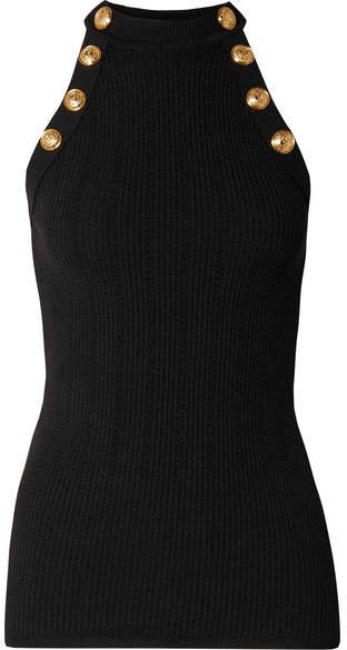 Button-embellished Ribbed Wool-blend Tank - Black