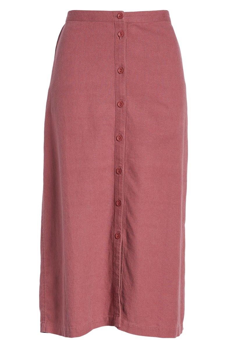 Treasure & Bond Button Front Linen Blend Midi Skirt | Nordstrom