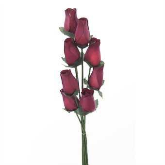 Wooden Roses In Light Burgundy - 8 Single Rose Stems Tied In A Bunch - Quality Small Flower Display: Amazon.co.uk: Kitchen & Home