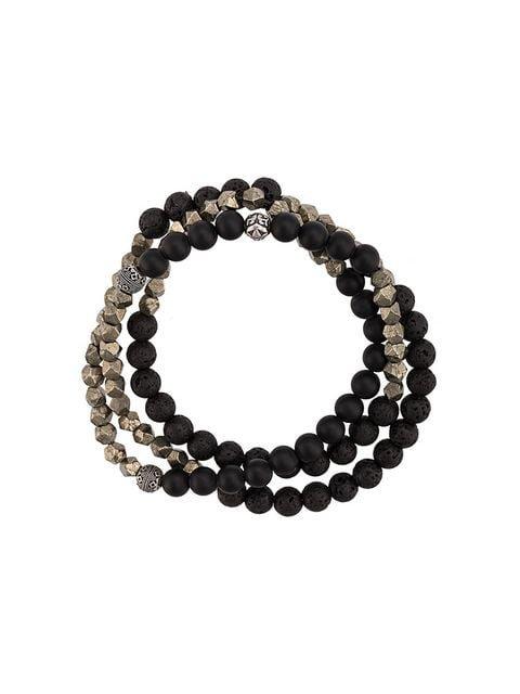Nialaya Jewelry Lava Stone, Onyx and Pyrite wrap-around bracelet