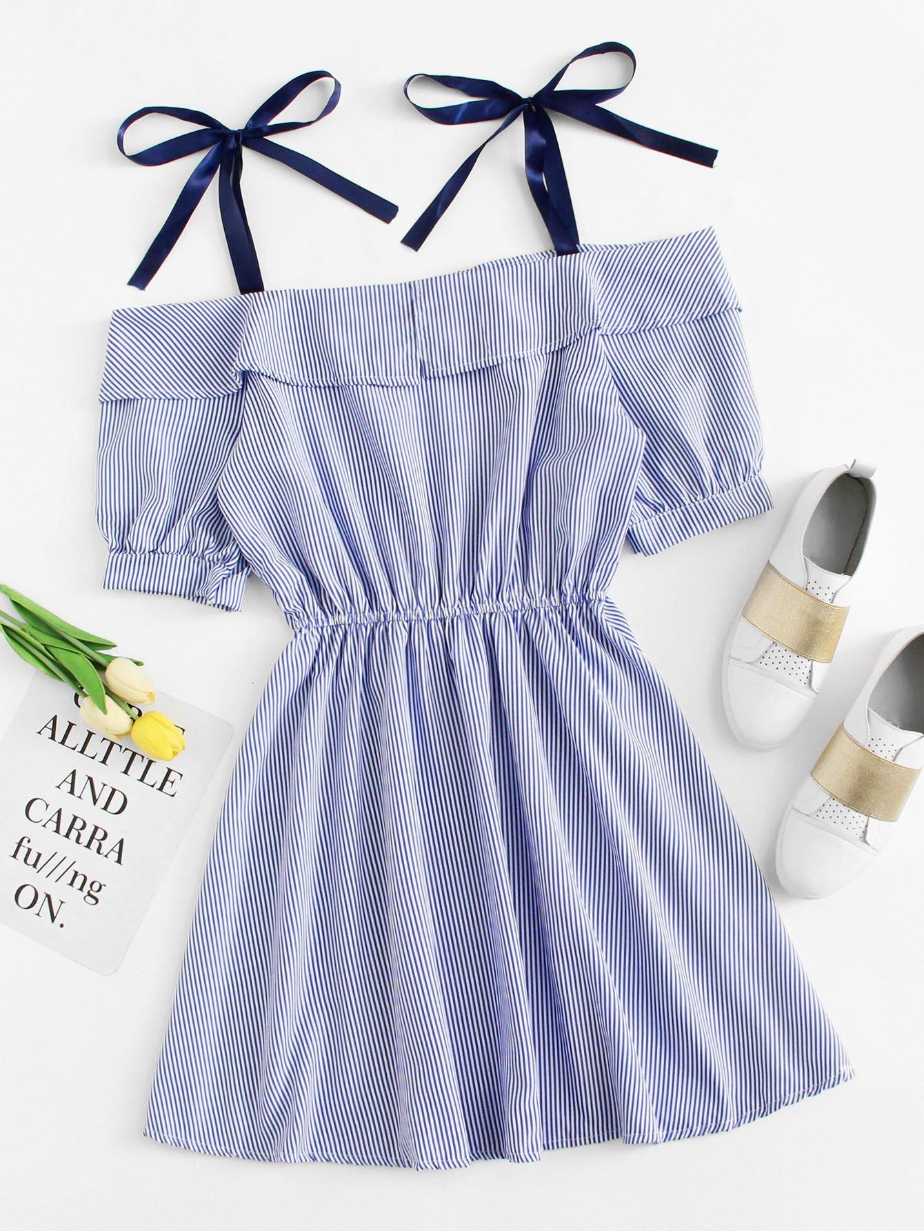 Open Shoulder Striped Dress