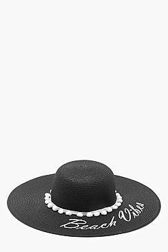 Amy Beach Vibes Slogan Straw Floppy Hat