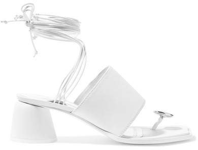 Embellished Leather Sandals - White
