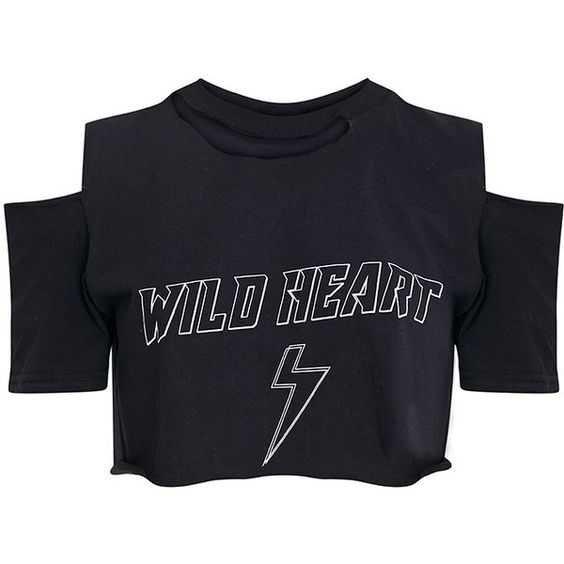 WILD HEART Black Ripped Crop T Shirt