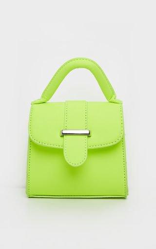 Neon Lime One Handle Mini Grab Bag | PrettyLittleThing