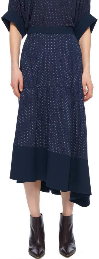 Pindot Shirred Panel Skirt