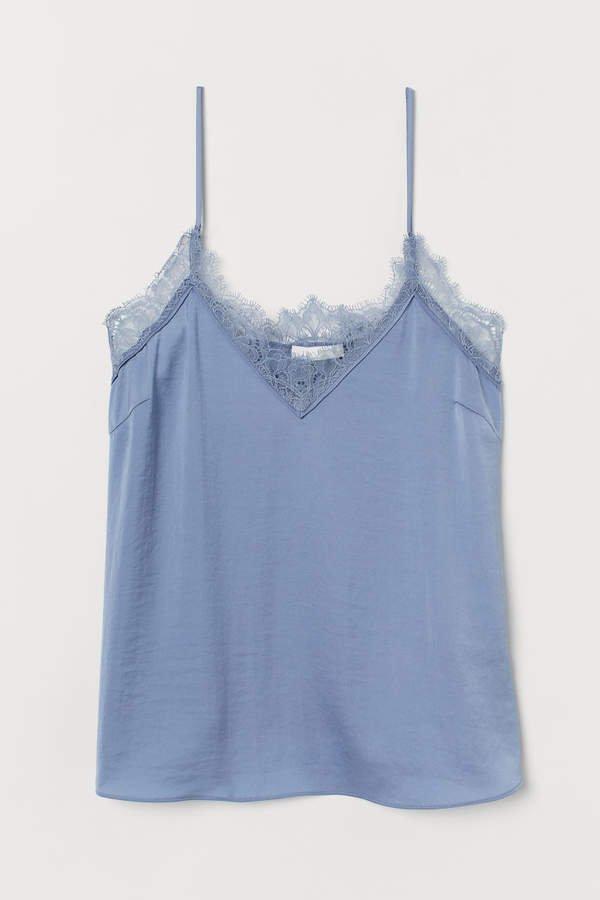 Satin Camisole Top - Blue