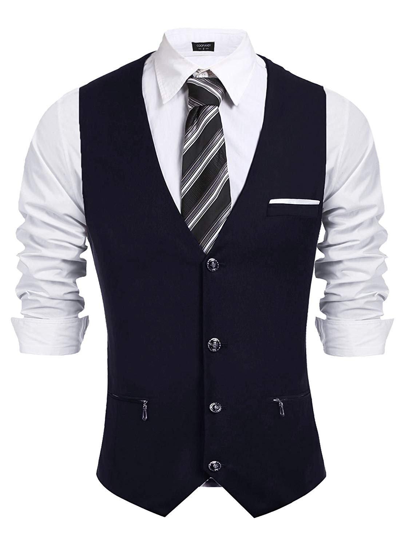 COOFANDY Mens Business Suit Vest Slim