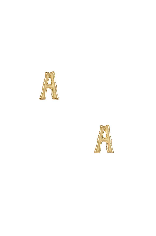 A Initial Stud Earrings