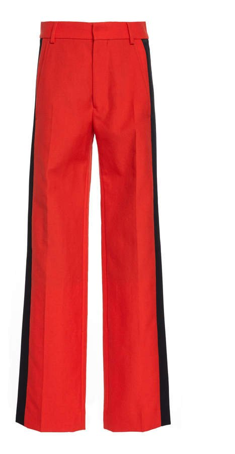 Satin Striped Wool Straight-Leg Trousers