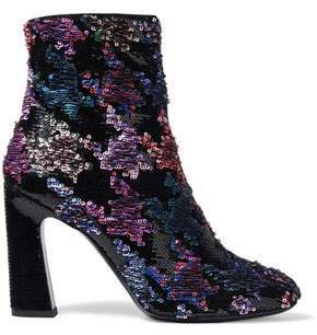 Sequined Suede Ankle Boots