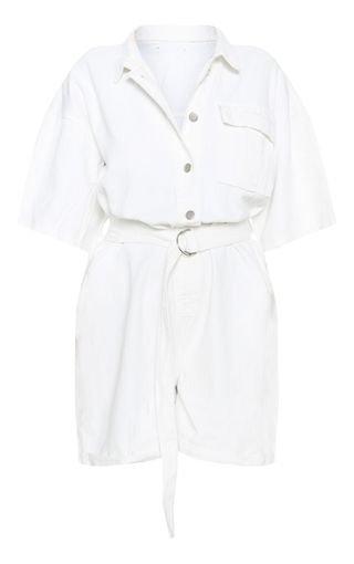 White Shorts Denim Playsuit   Denim   PrettyLittleThing