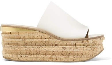 Camille Leather Wedge Sandals - White