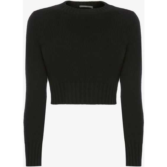 Alexander McQueen Cropped Cashmere Jumper (48.110 RUB) ❤ liked on Polyvore featuring tops, sweaters, shirts, black, round collar shirt, cuff shirts, cashmere shirt, long sleeve jumper and long sleeve