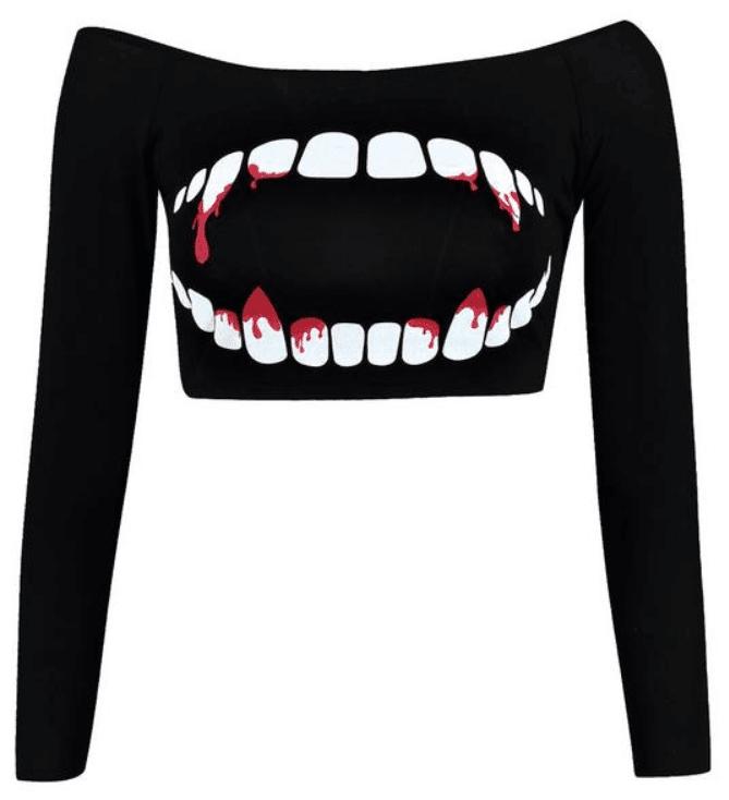 Petite Emma Teeth Print Halloween Crop