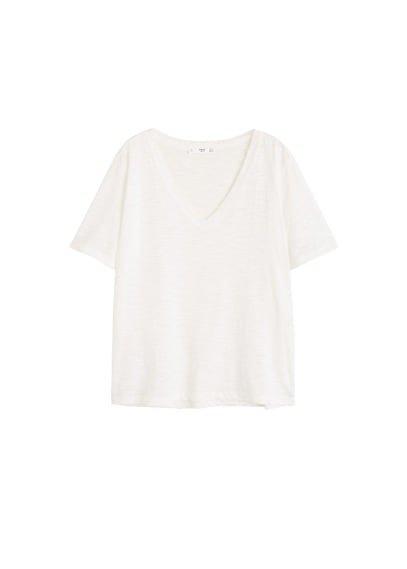 MANGO Flecked cotton-blend t-shirt