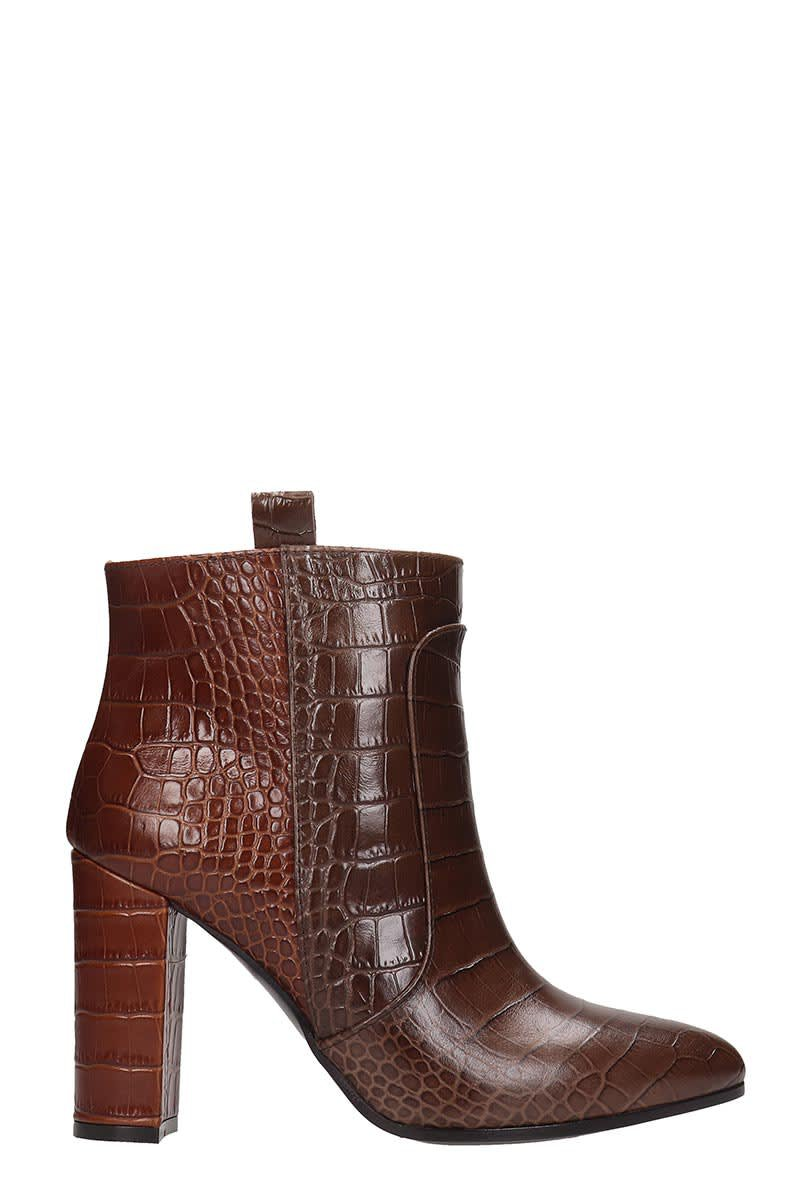 Via Roma 15 High Heels Ankle Boots In Brown Leather