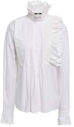 Broderie Anglaise-trimmed Cotton Blouse