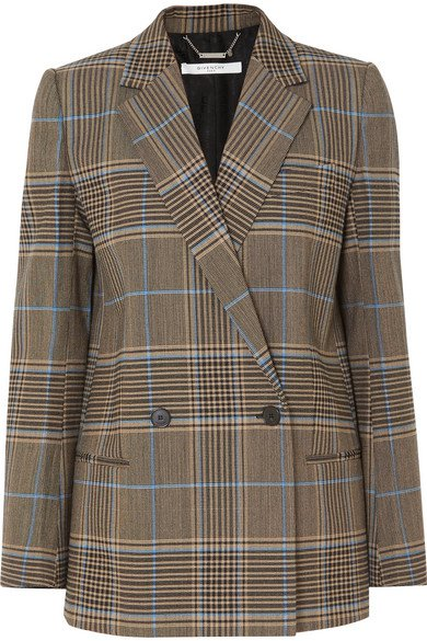 Givenchy | Double-breasted checked wool-blend blazer | NET-A-PORTER.COM