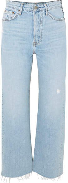 Bobbi Cropped Distressed High-rise Bootcut Jeans - Light denim