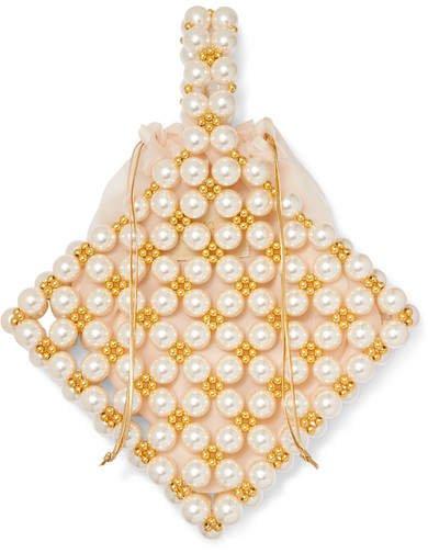 Vanina - Reveries Beaded Faux Pearl Tote - Ivory