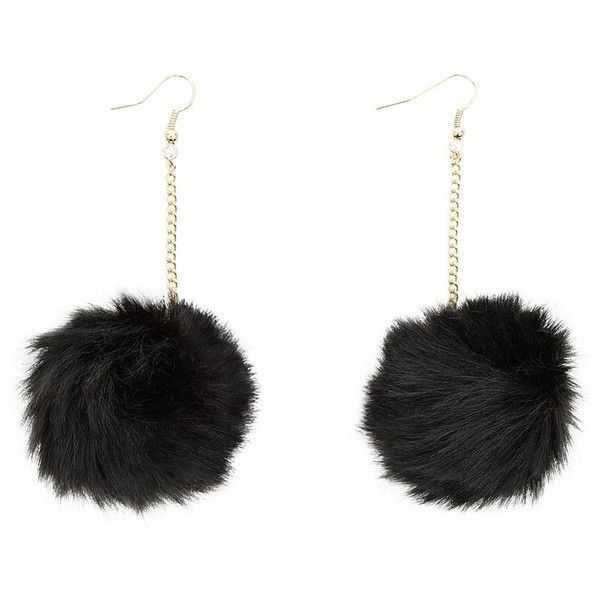 Black Fluffy Pom Pom Earrings