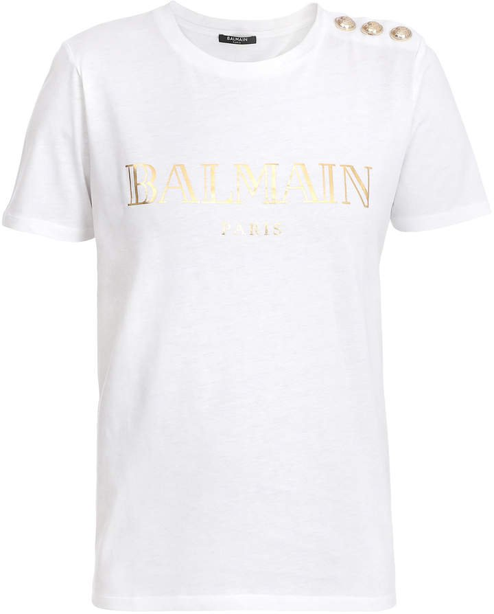 Button-Trim Logo Cotton T-Shirt
