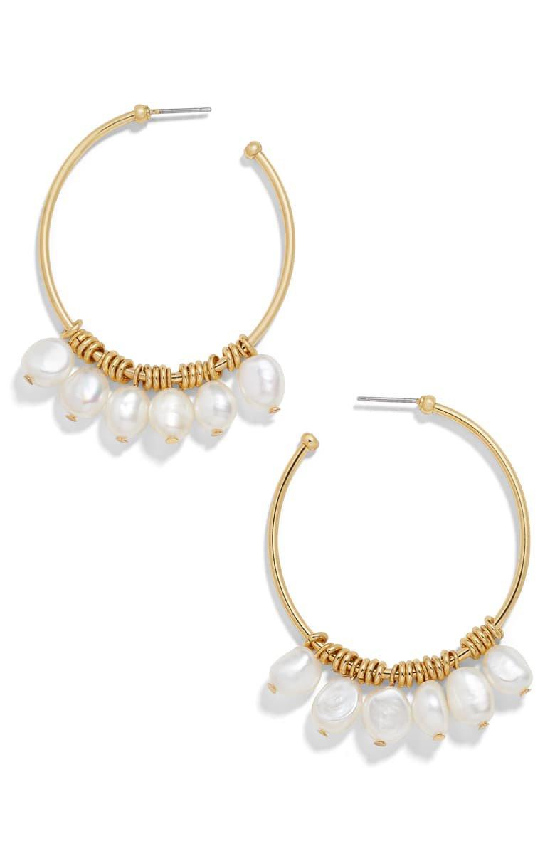 BaubleBar Marquita Keshi Pearl Hoop Earrings   Nordstrom