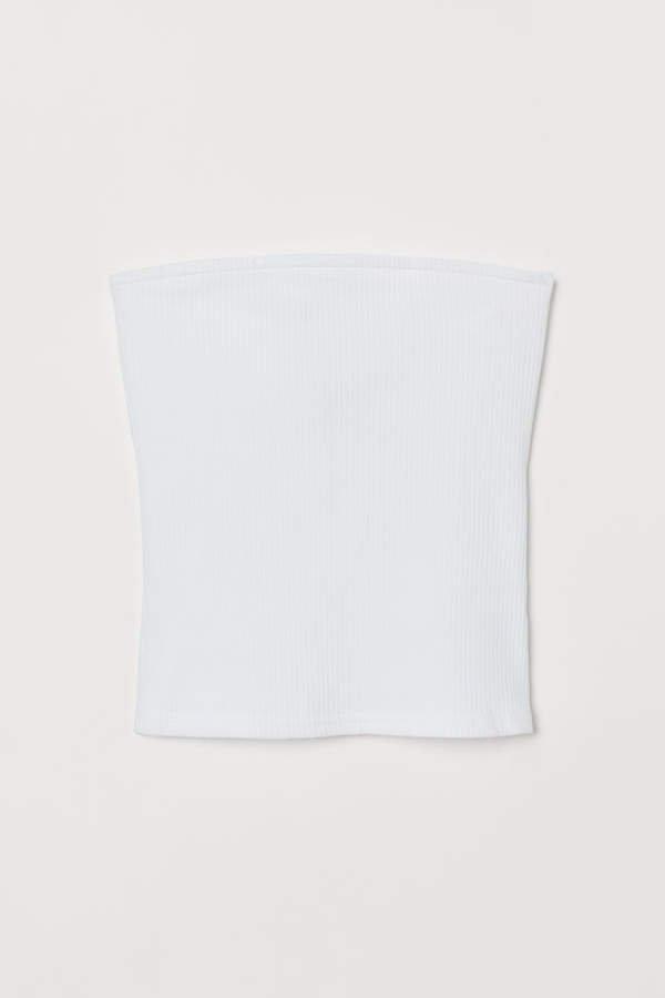 Ribbed Tube Top - White