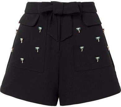 Embellished Stretch-crepe Shorts - Black